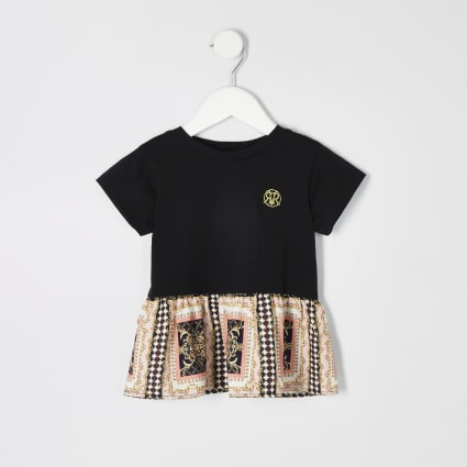 Mini girls black baroque peplum hem T-shirt