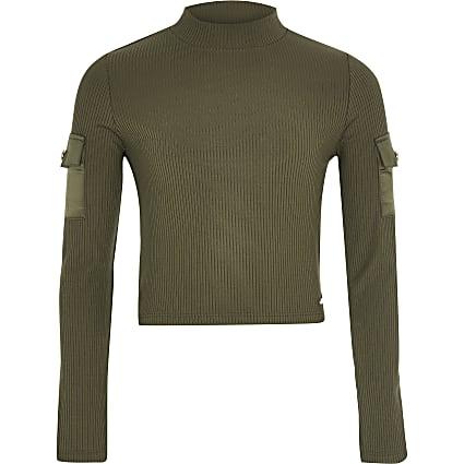 Girls khaki ribbed high neck utility top