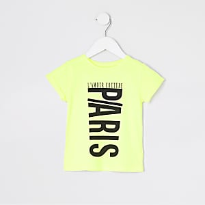 Mini girls neon yellow printed jumbo T-shirt