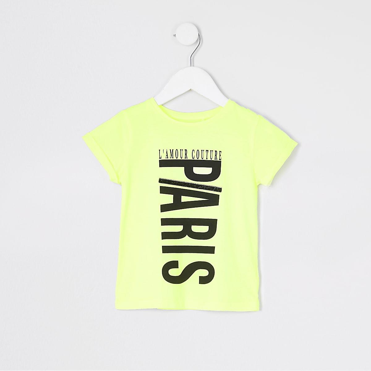 Mini girls neon yellow printed jumbo T-shirt