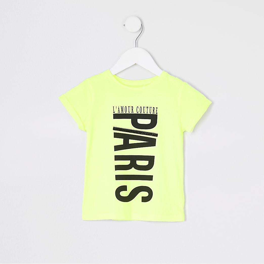 Mini - Neongeel jumbo T-shirt met print voor meisjes