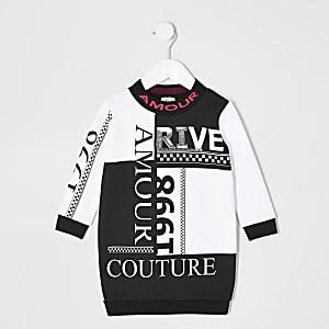 Bedrucktes Sweaterkleid in Schwarz für kleine Mädchen