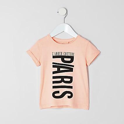 Mini girls neon orange 'Paris' print T-shirt