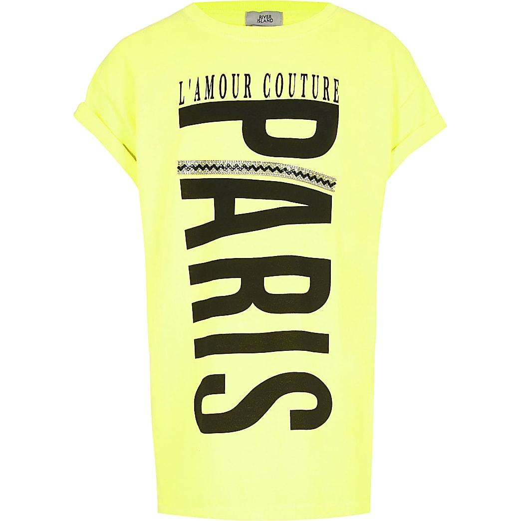 Girls neon yellow printed T-shirt