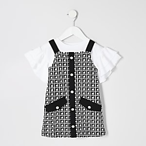 Mini girls black RI monogram pinafore outfit