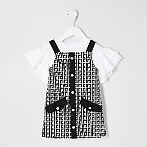 Mini - Outfit met zwarte overgooier met RI-monogram voor meisjes