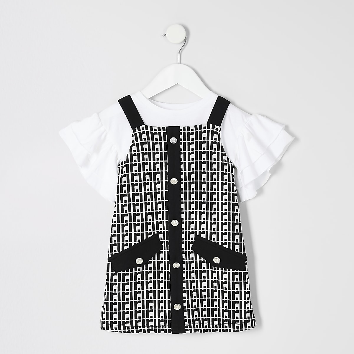 Mini girls black RI pinafore dress outfit
