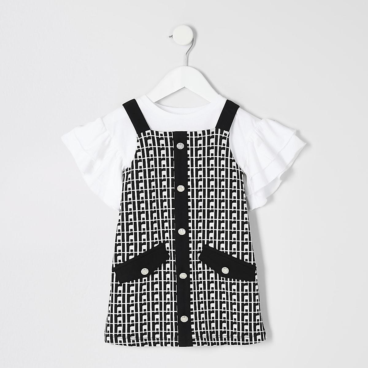Mini - Outfit met zwarte overgooier met RI-logo voor meisjes