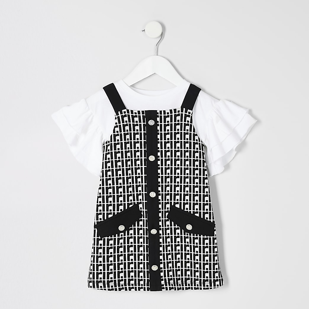 Mini girls black RI pinafore dress outfit