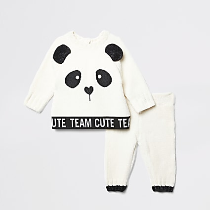 Baby cream panda chenillie jumper outfit