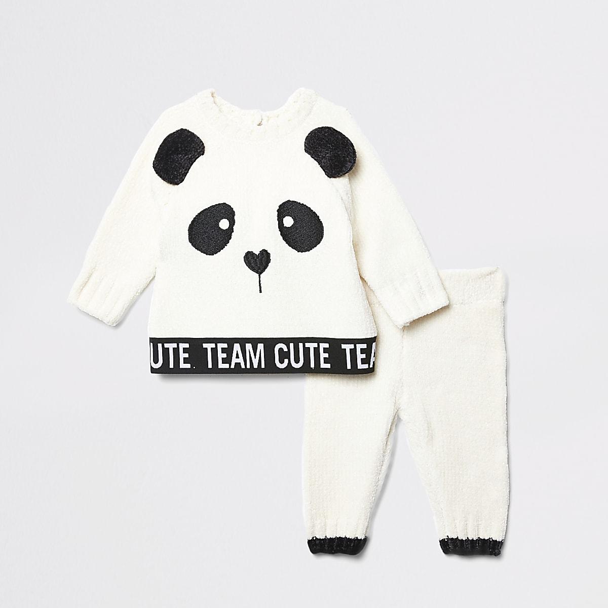 Ensemble avec pull panda en chenille crème pour bébé