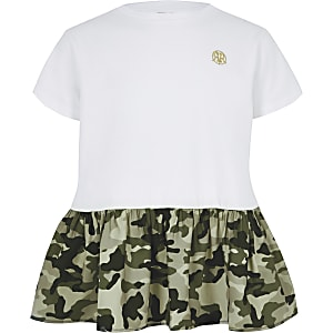 Girls white camo peplum hem T-shirt