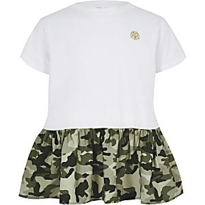Wit T-shirt met camouflageprint en peplum voor meisjes