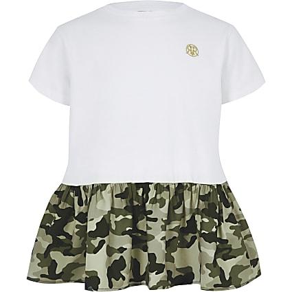 Girls white camo peplum hem T-shirt