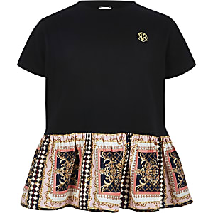 Girls black baroque peplum hem T-shirt
