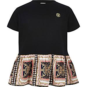 T-shirt noir avec ourlet péplum à imprimé baroque pour fille