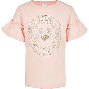 T-shirt rose motif licornes à strass pour fille