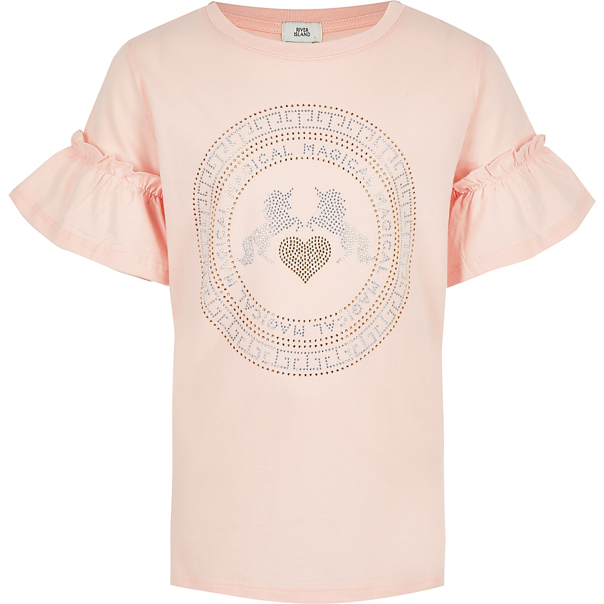 Girls pink rhinestone unicorn T-shirt