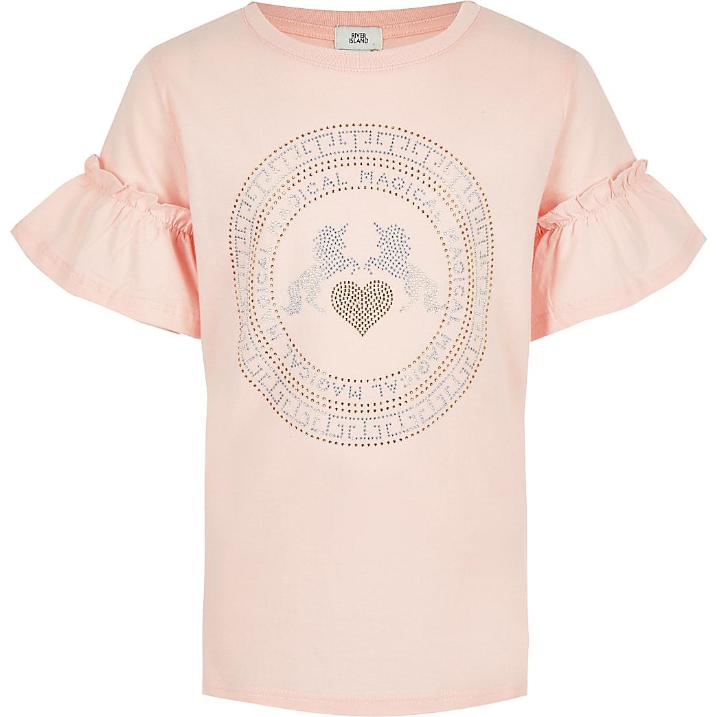 Girls pink diamante unicorn T-shirt