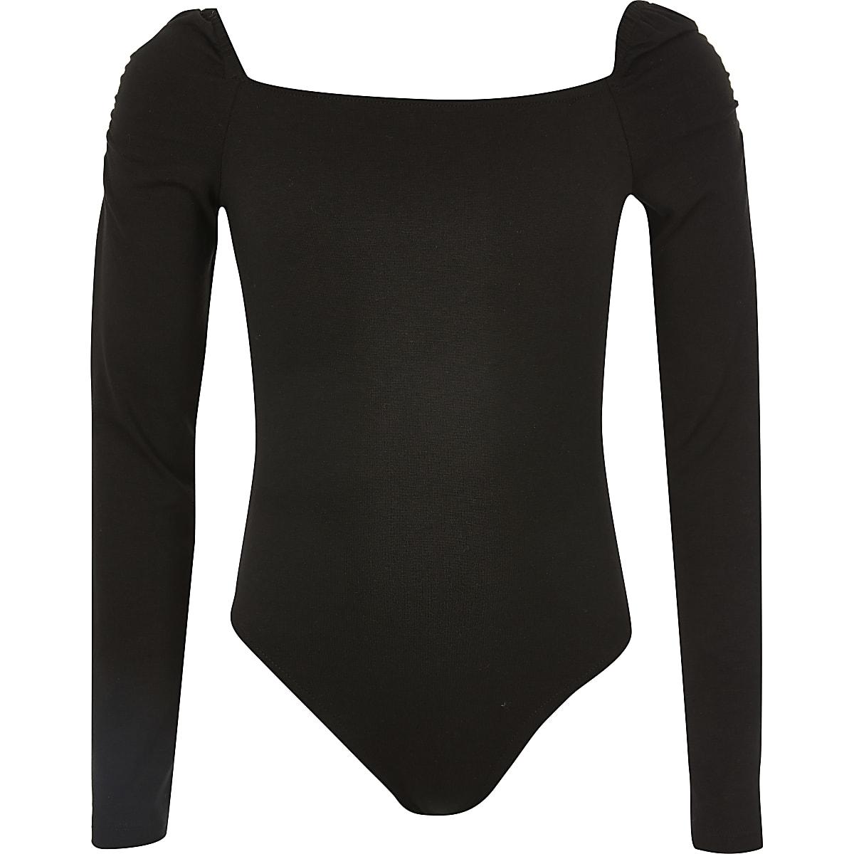 Black puff sleeve bodysuit