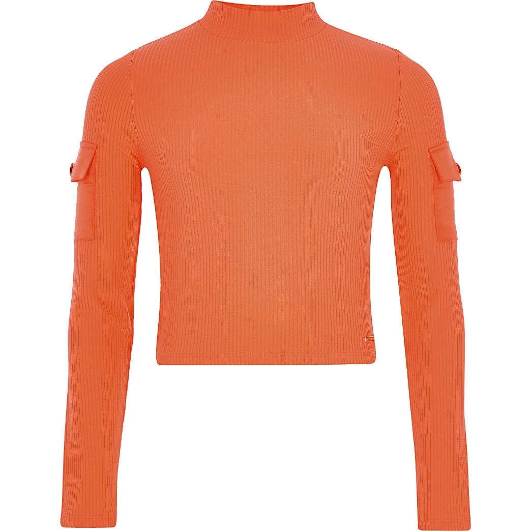 Girls neon orange high neck utility top