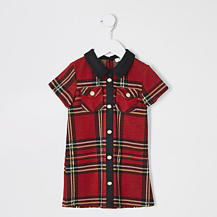 Mini girls red tartan shift dress