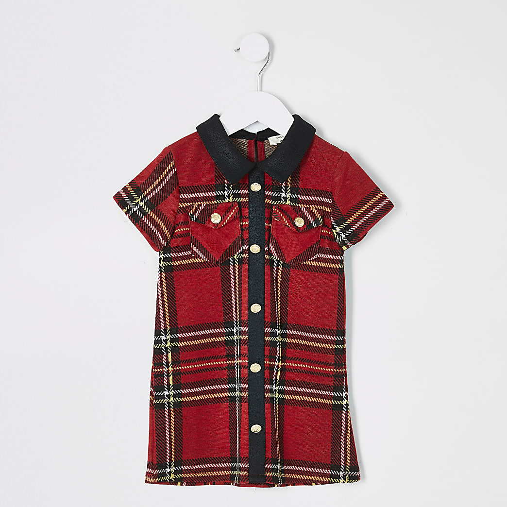 Mini girls red tartan shift dress