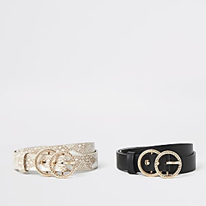 Girls black snake ring buckle belt multipack