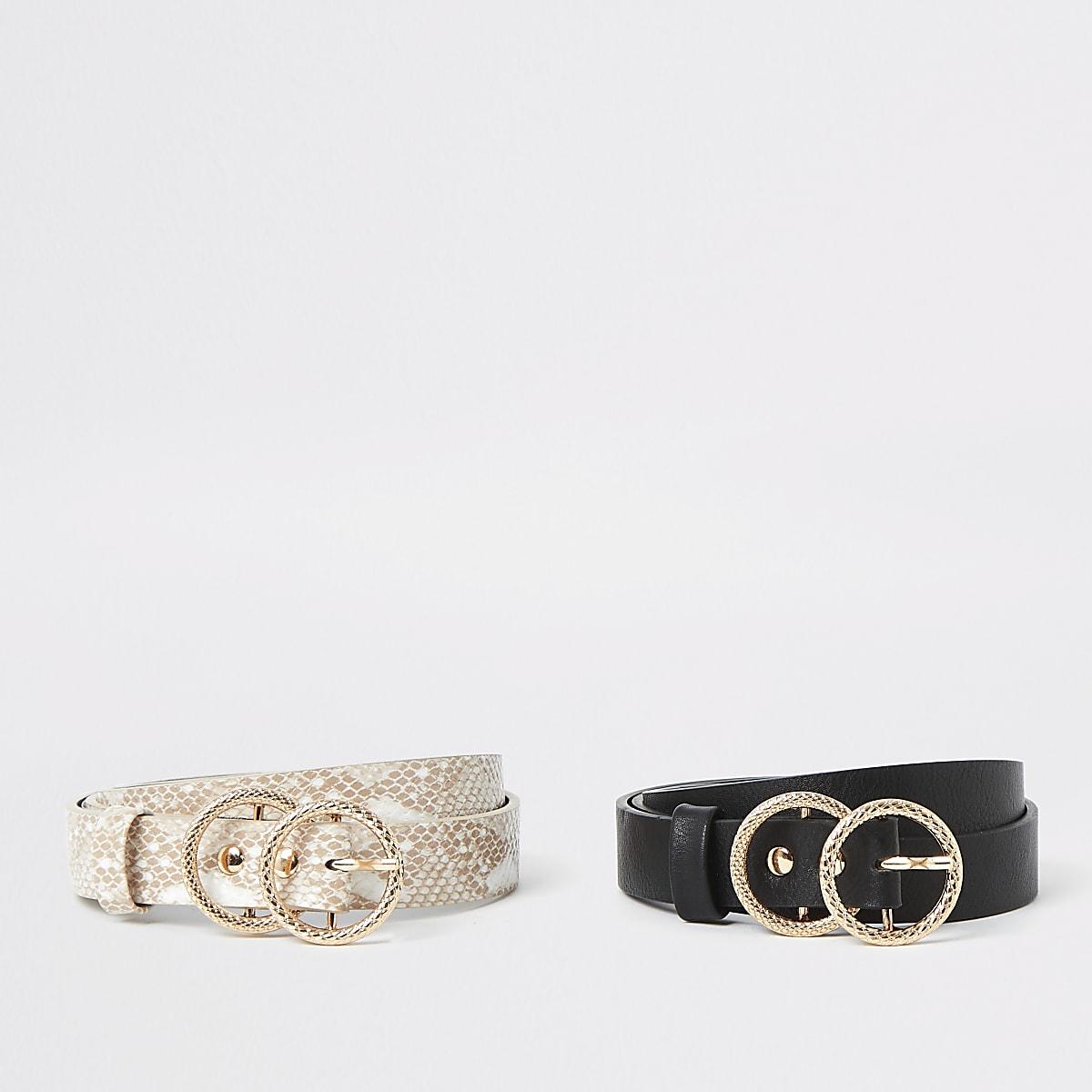 Multipack riemen in zwart en met slangenprint met ringvormige gesp voor meisjes