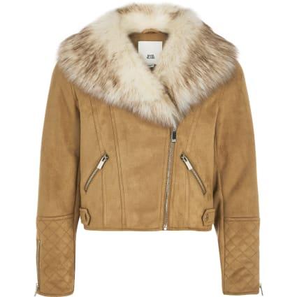 Girls brown quilted biker jacket