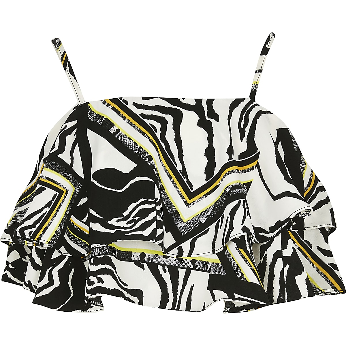 Girls zebra print frill crop top