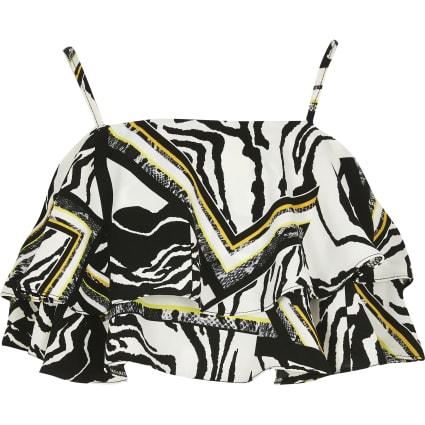 Girls zebra print frill crop top