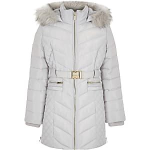 Grijze gewatteerde lange jas met ceintuur voor meisjes