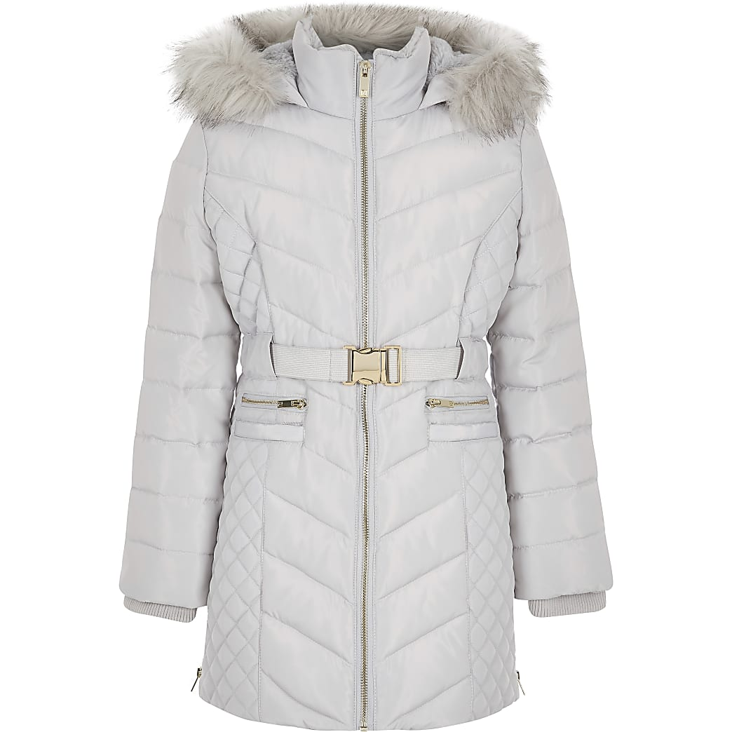 Girls grey padded belted longline coat