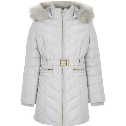 Girls grey padded belted longline coat