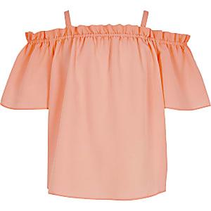 Top à épaules dénudées corail pour fille