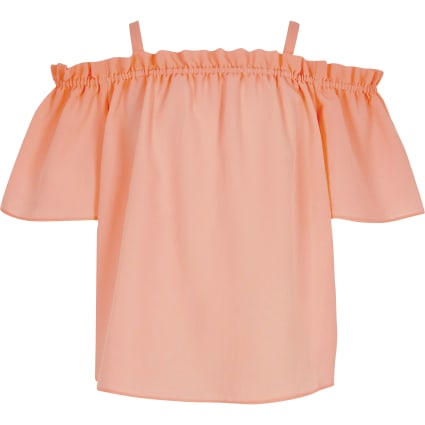 Girls coral cold shoulder top