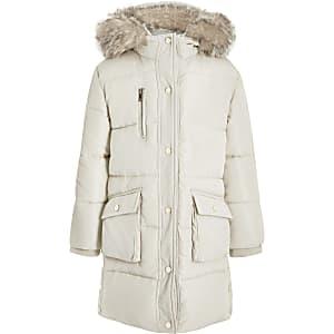 Manteau long matelasséRI crèmepour fille