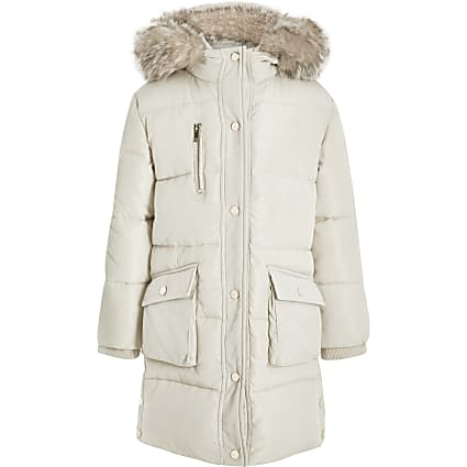 Girls cream padded RI longline coat