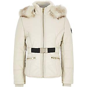 Beige aansluitende gewatteerde jas van imitatieleer voor meisjes