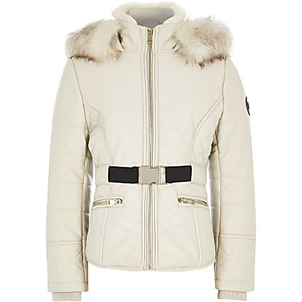 Girls beige faux leather fitted padded jacket