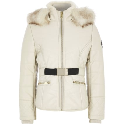 Girls cream faux leather padded coat