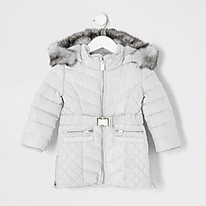 Gefütterter Longline-Mantel in Grau mit Gürtel für kleine Mädchen