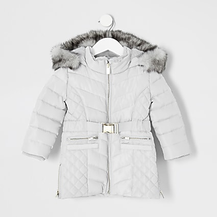 Mini girls grey padded belted longline coat