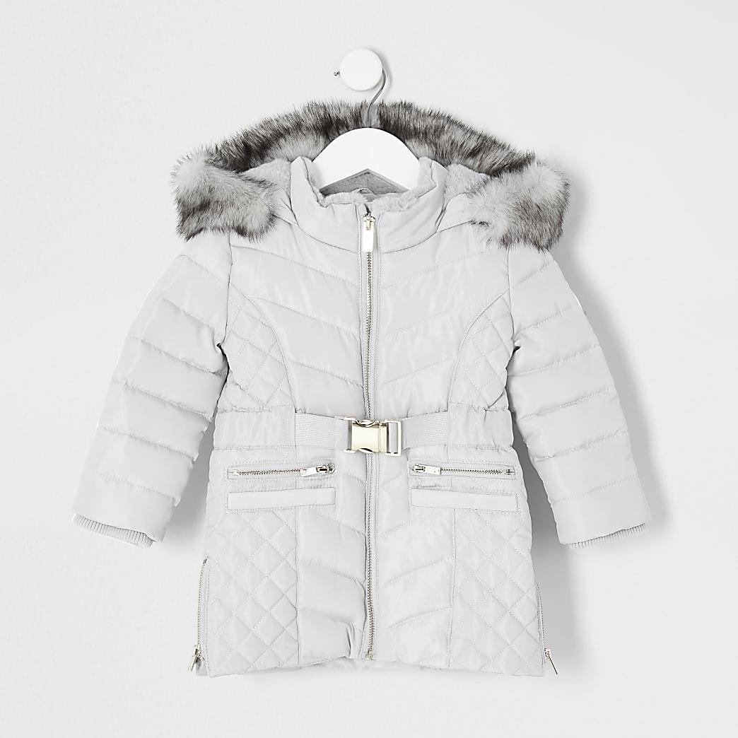 Mini - Grijze gewatteerde lange jas met ceintuur voor meisjes