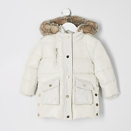 Mini girls cream padded printed longline coat