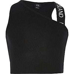 Zwarte crop top met één blote schouder voor meisjes