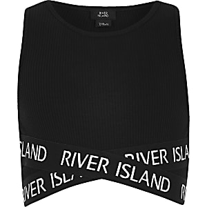 Girls black RI cross over crop top