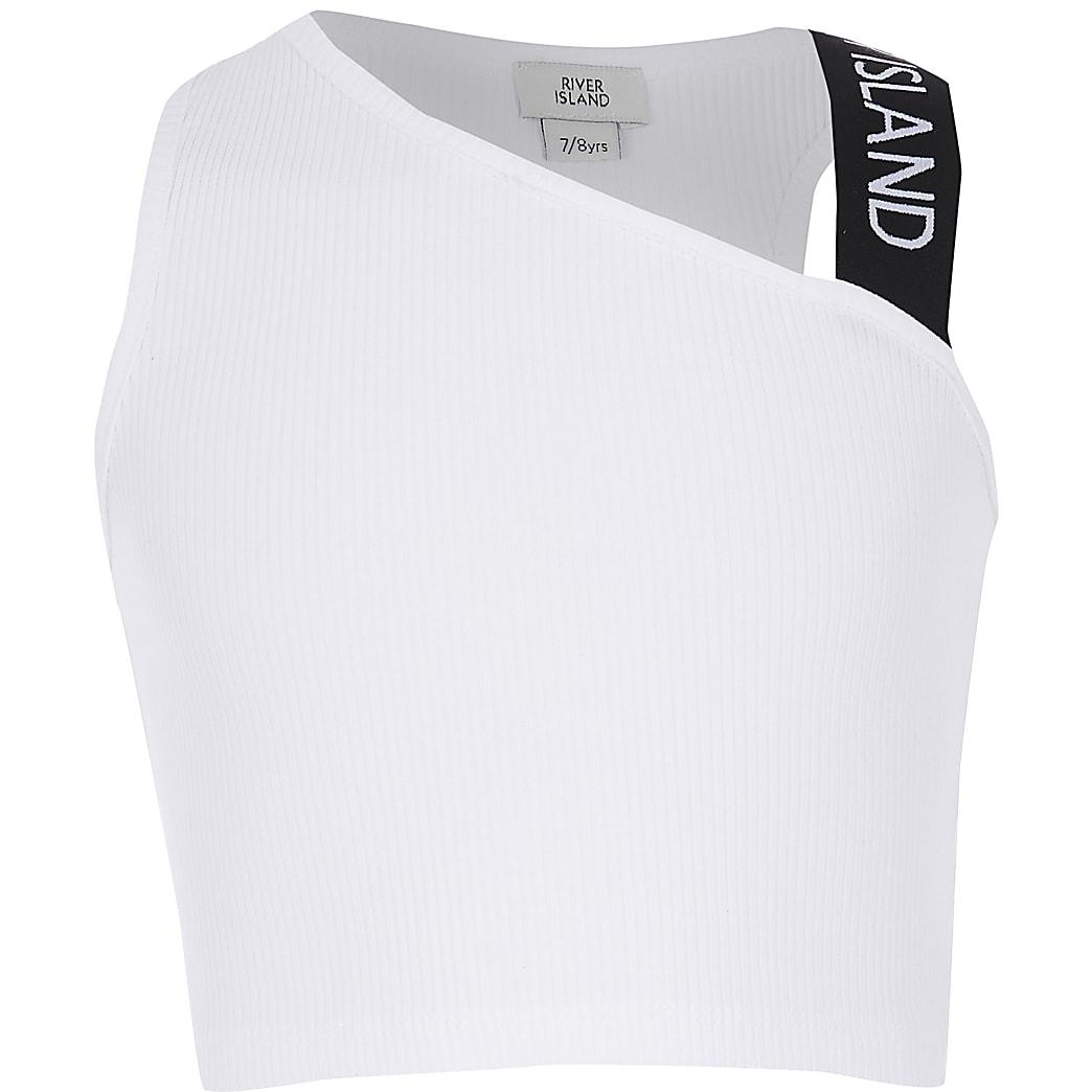 Girls white one shoulder crop top