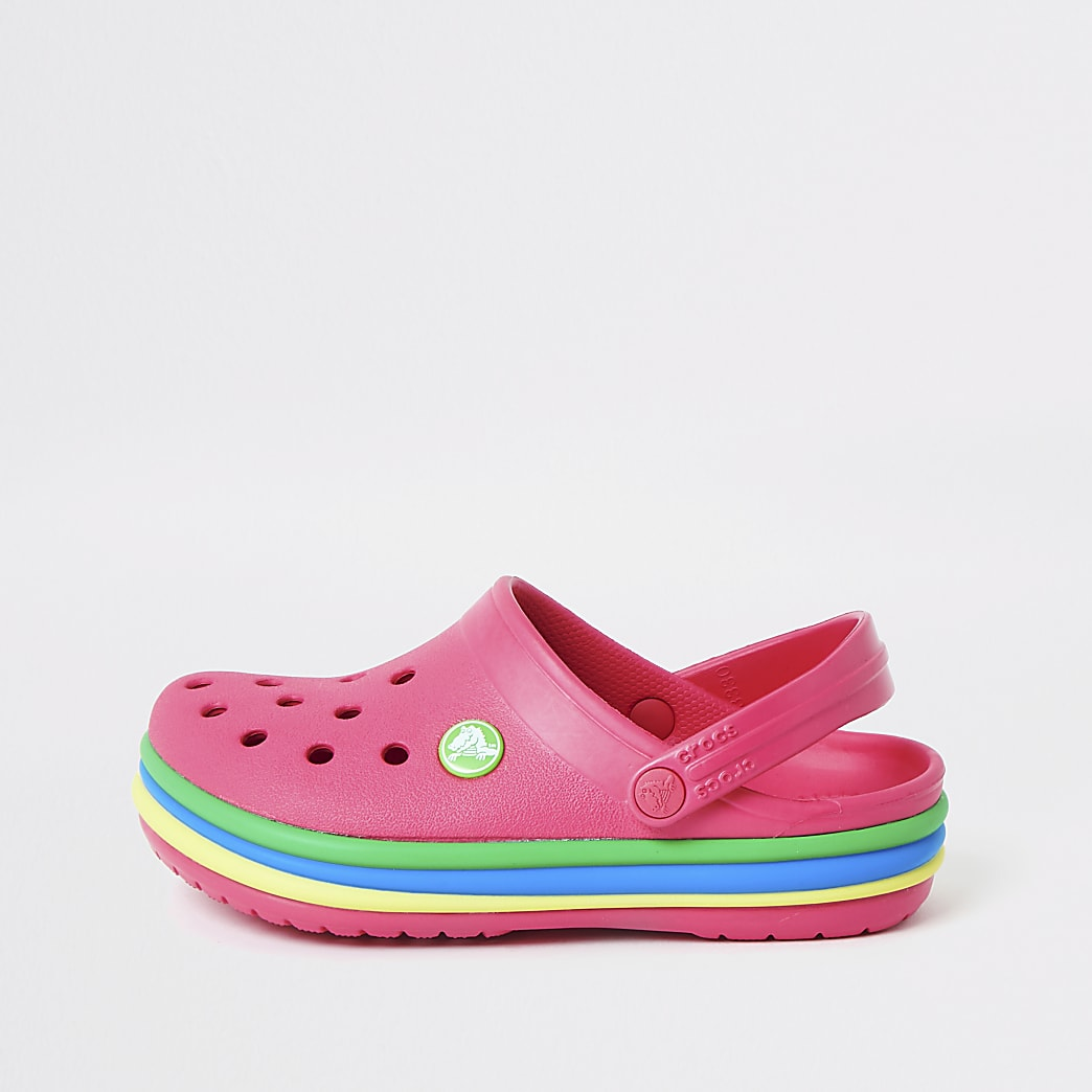 Girls Crocs pink rainbow clogs